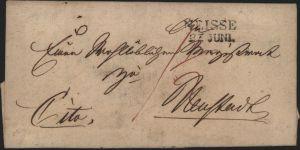 Preussen Vorphila Brief L2 Neisse Nysa Schlesien 1828 Polen kompl. mit Inhalt