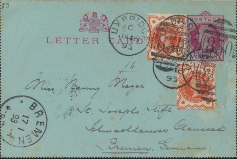Großbritannien Ganzsache Kartenbrief K1 Victoria ZUF 2x 86 Uxbridge Bremen 1893