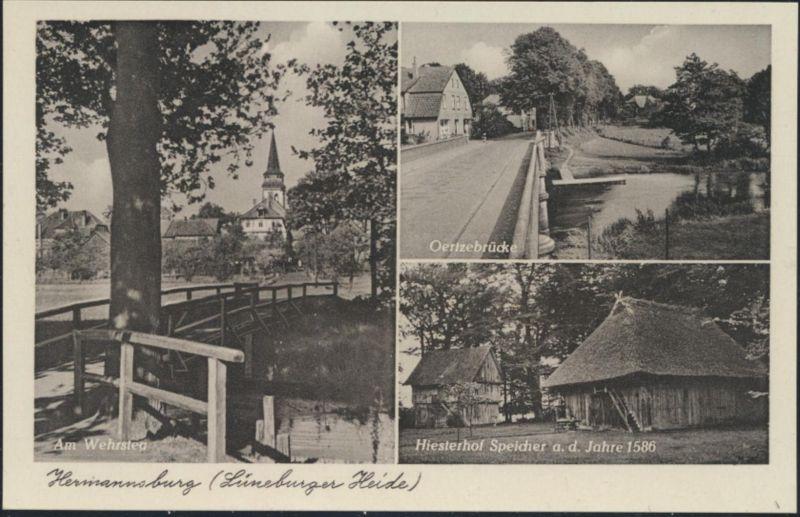 Ansichtskarte Hermannsburg Wehrsteg Oertzelbrücke Hiesterhof Speicher