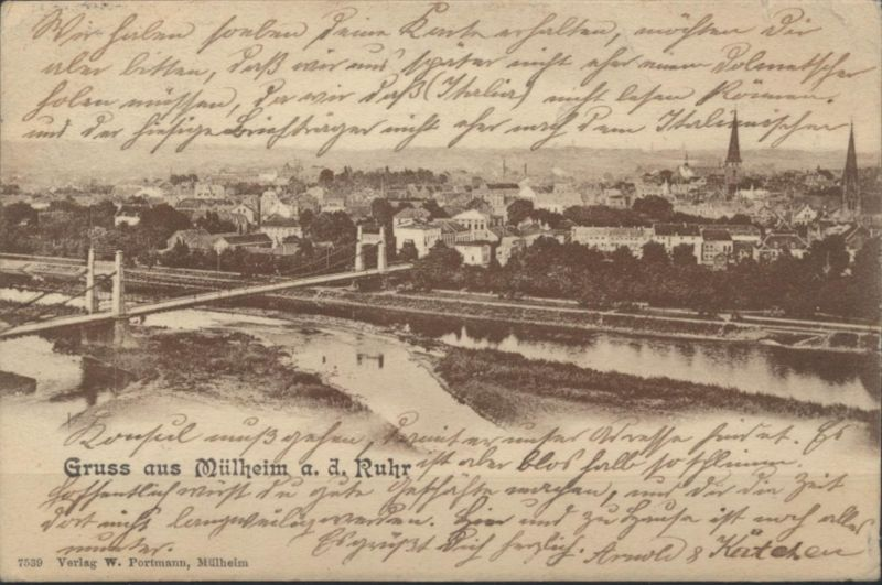 Ansichtskarte Mülheim Ruhr 1903 nach Genua weitergeleitet n. Nepal Italien