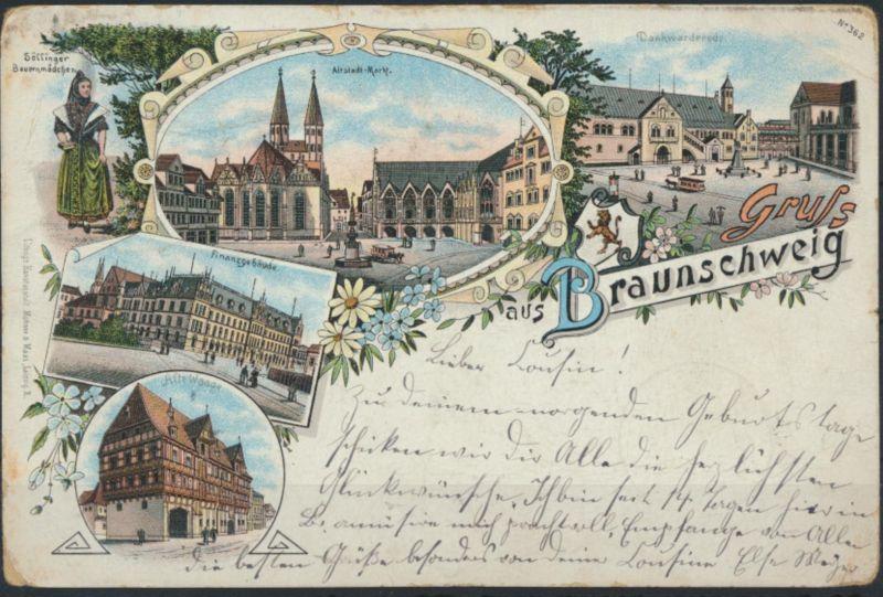 Ansichtskarte Litho Braunschweig Vorläufer 1896 nach Raguhn