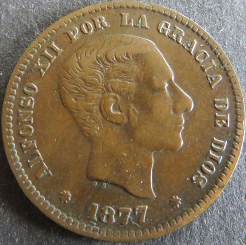 Münze Spanien 5 Centimos 1877 Schön: 161 vzgl.