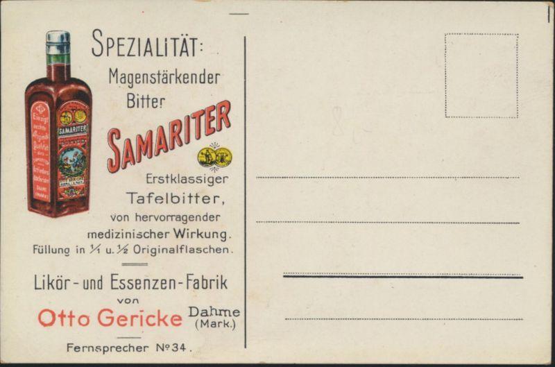 Ansichtskarte Reklame Samariter Magenbitter Likör Fabrik Otto Gericke Dahme