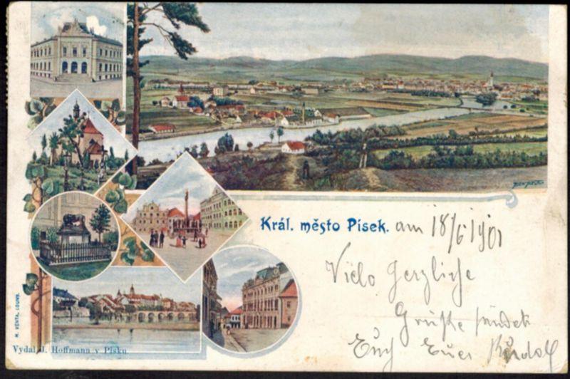 Ansichtskarte Pisek Tschechien Litho Topographie gelaufen 1901