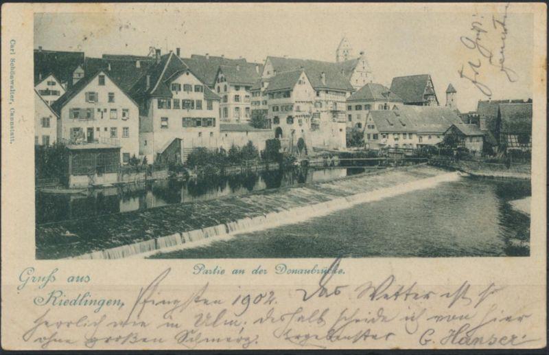 Ansichtskarte Riedlingen 1902 nach Ulm
