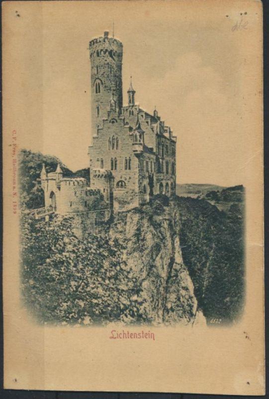 Ansichtskarte Burg Lichtenstein Schwäbische Alb sehr erhabene Prägekarte
