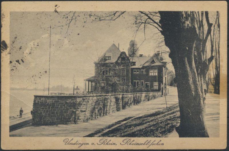 Ansichtskarte Uerdingen Rhein 1918 nach Veert bei Geldern