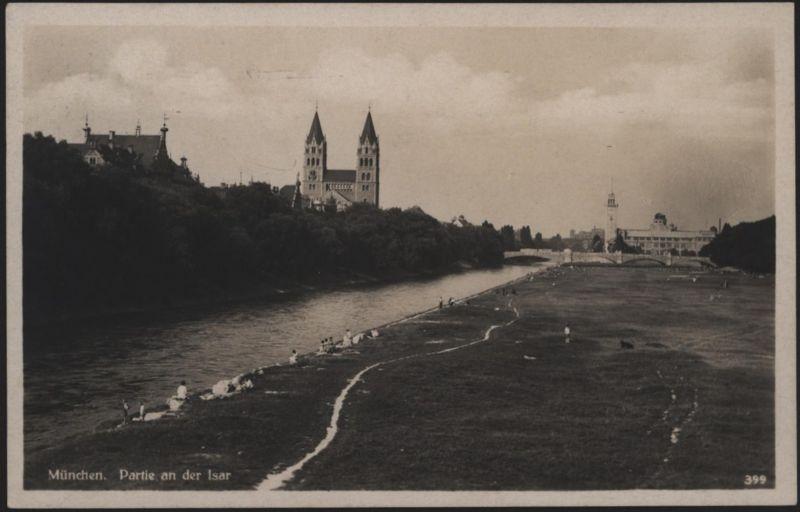 Ansichtskarte München Isar Post - Werbestempel Postauto nach Köln-Ehrenfeld 1930