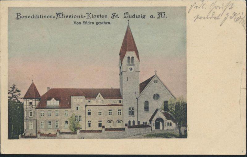 Ansichtskarte Benediktiner Kloster St. Ludwig  Wipfeld Bayern Bahnpost n. Metz