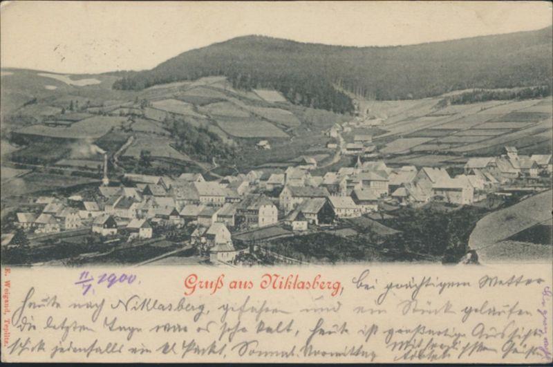 Ansichtskarte Niklasberg Mikulov Tschechien nach Dresden 1900