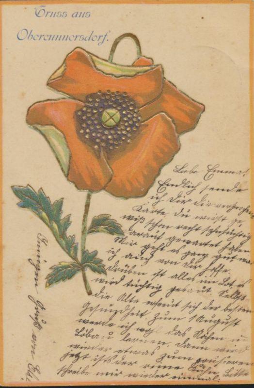 Ansichtskarte Prägekarte Oberrammersdorf Bayern Blumen 1905 nach Löbau