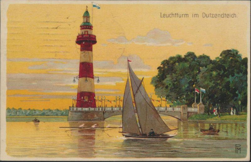 Ansichtskarte Dutzendteich Leuchtturm Künstler sign P.M.SST Nürnberg Ausstellung