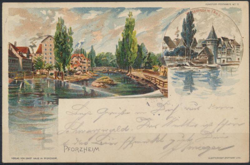 Ansichtskarte Litho Pforzheim Künstler Wasserturm 1899 nach Duisburg
