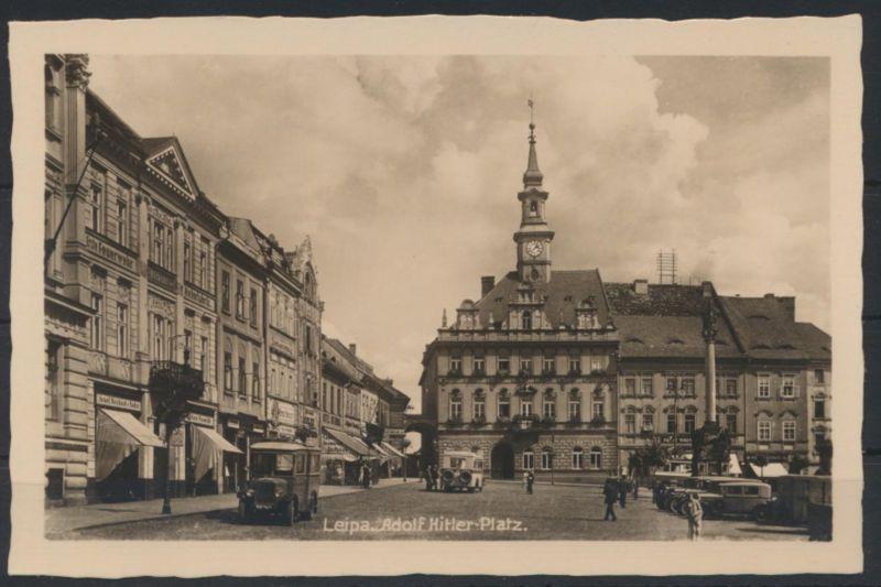 Ansichtskarte Leipa Böhmen Foto Auto Platz ungelaufen Česká Lípa Tschechien