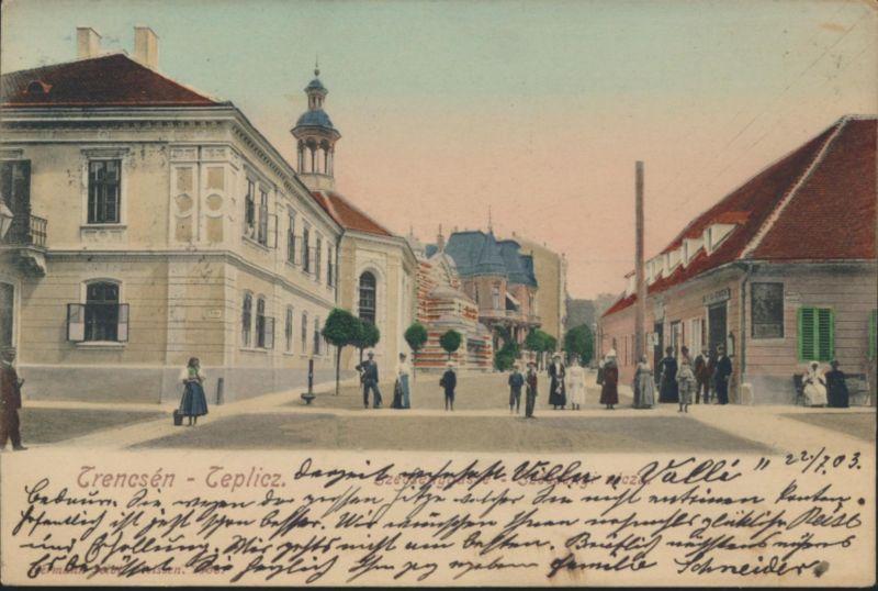 Ansichtskarte Teplitz Passanten 1903 nach Wien Teplice Tschechien Sudenten