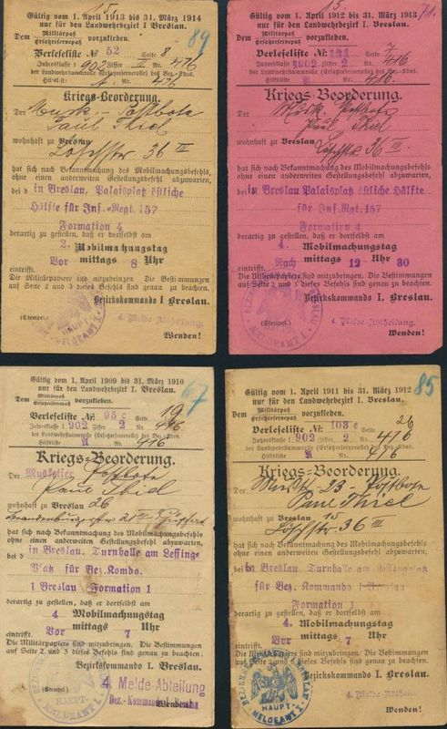 Militaria Zeitdokument Kriegsbeorderungen Meldeamt Breslau Mobilmachungsbefehl
