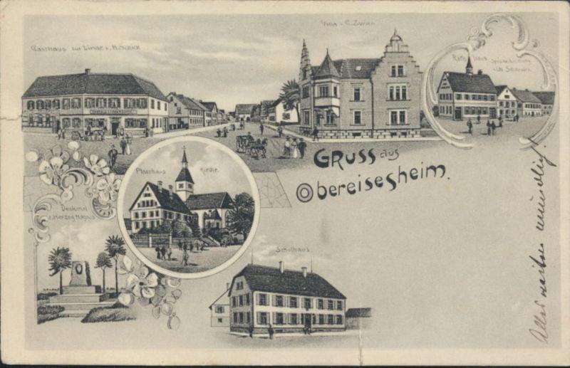 Ansichtskarte Obereisesheim Neckarsulm Gasthaus Pfarrhaus Villa Zwirn Heilbromm