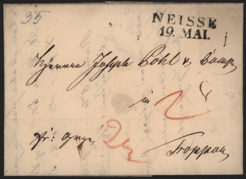 Preussen Vorphila Brief L2 Neisse Nysa Schlesien 1835 n Troppau Opava Tschechien