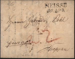 Preussen Vorphila Brief L2 Neisse Nysa Schlesien 1826 n Troppau Opava Tschechien