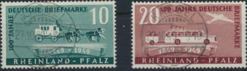 Rheinland-Pfalz 49-50 gestempelt  100 Jahre Deutsche Briefmarken