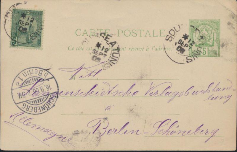 Tunis Tunesien 5 mit ZuF Sousse nach Berlin Schöneberg 12.9.1906