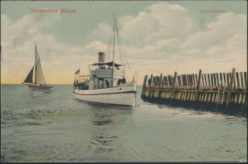 Ansichtskarte Künstler Nordseebad Büsum Hafeneinfahrt Schiffe Segelboot Marine