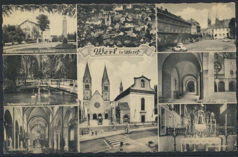 Ansichtskarte Werl Bahnhof Marktplatz Kirche Auto VW Käfer nach wetter Ruhr