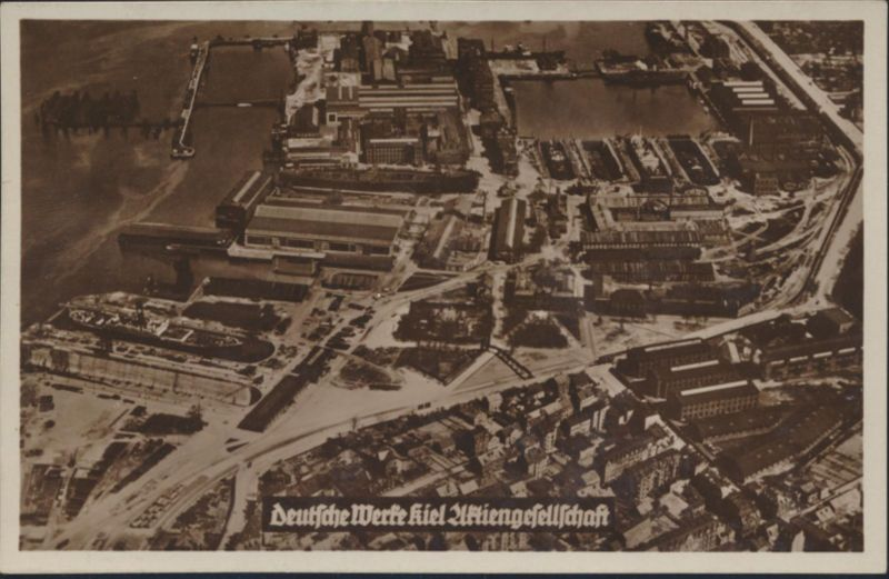 Ansichtskarte Foto Kiel Deutsche Werft Luftbild 1930er Jahre Schiffsbau