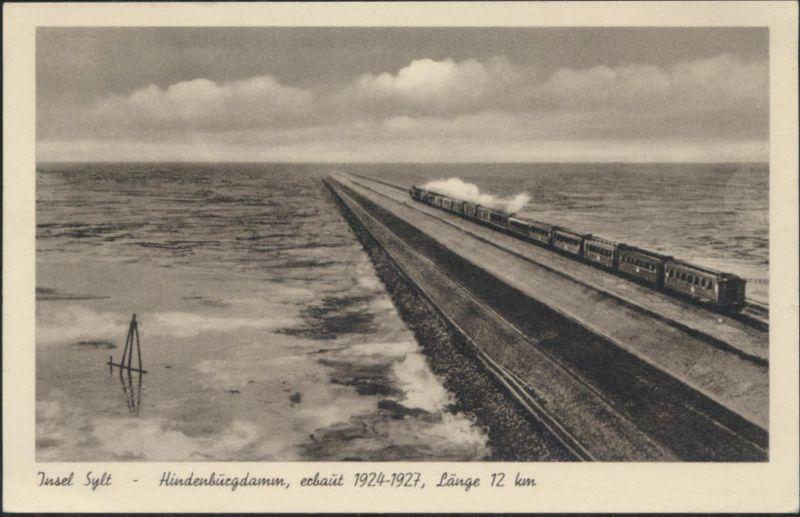 Ansichtskarte Insel Sylt Hindenburgdamm Eisenbahn Dampflok