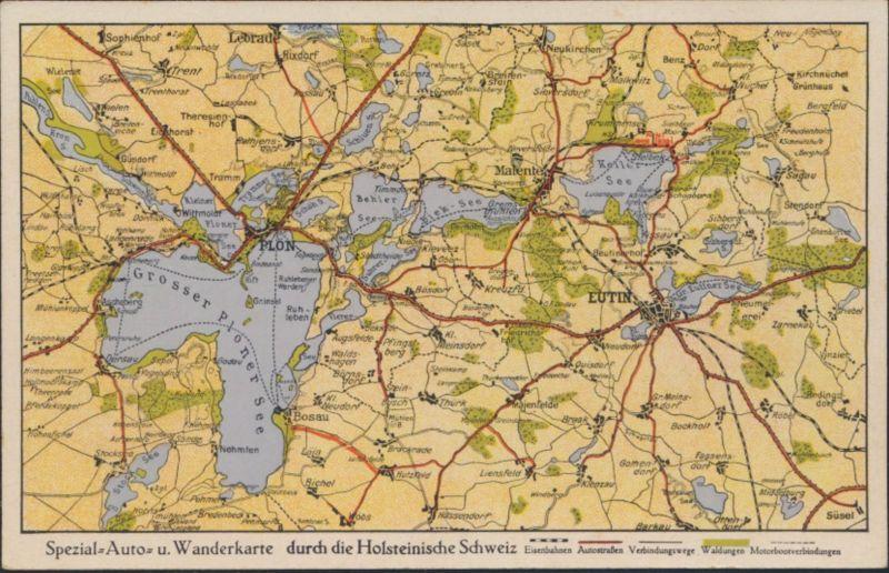 Ansichtskarte Spezial Auto- und Wanderkarte Holsteinsche Schweiz Plön Wutin