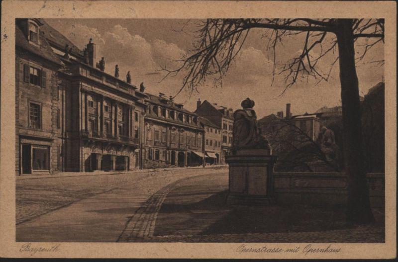 Ansichtskarte Bayreuth Opernstraße Opernhaus Bayern 1927 nach Barmen
