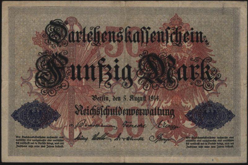 Geldschein 50 Mark Darlehenskassenschein 5.8.1914 50 b KN 7 stellig II.