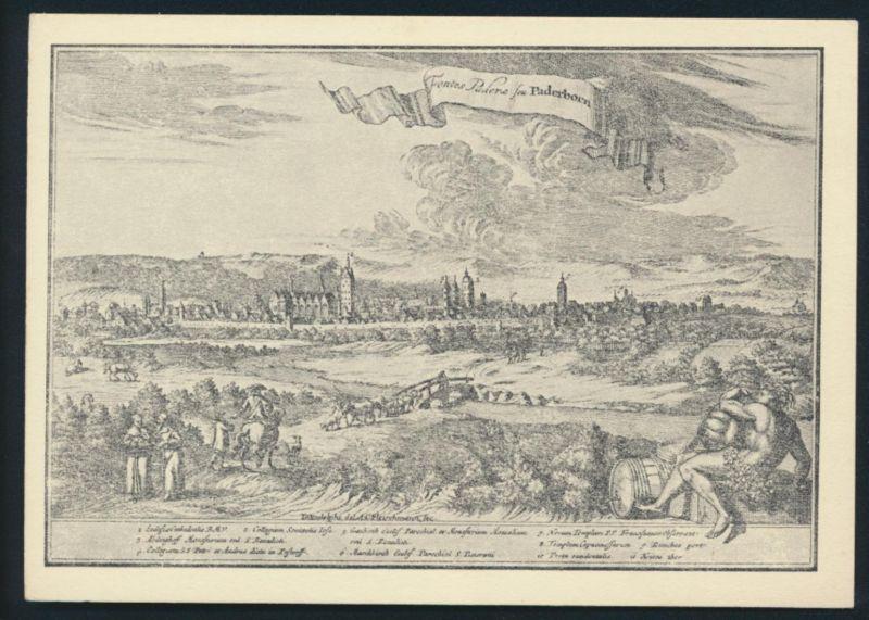 Ansichtskarte Paderborn nach einem Kupferstich von A.C. Fleischmann 1713