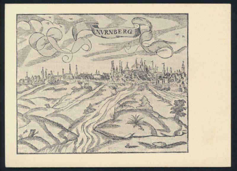 Ansichtskarte Nürnberg nach einem Holzschnitt aus Münsters Kosmographie 1550