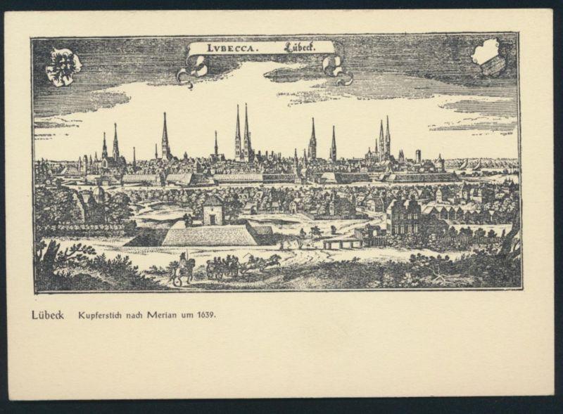 Ansichtskarte Lübeck Kupferstich nach Merian um 1639