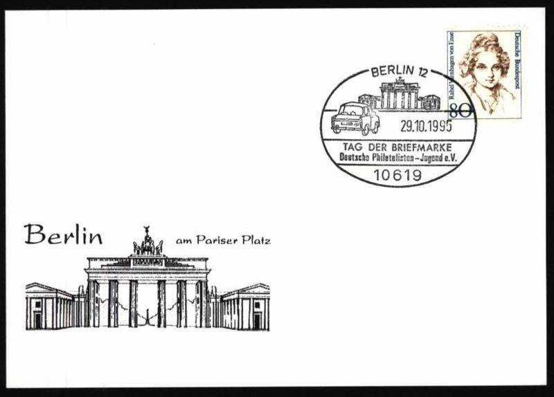 Bund Karte FDC Motiv Brandenburger Tor Auto Tag der Briefmarke SST Berlin 1995