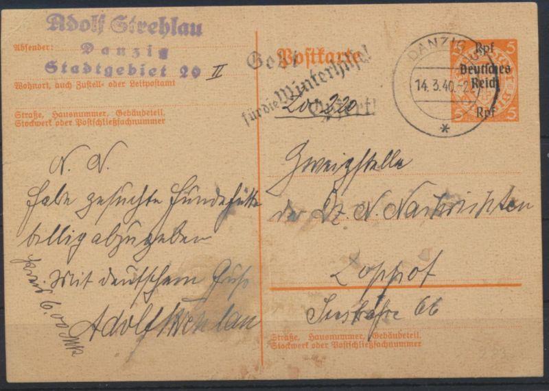 Deutsches Reich Ganzsache P 283 Werbestempel Danzig Winterhilfe n. Zoppot 300,-
