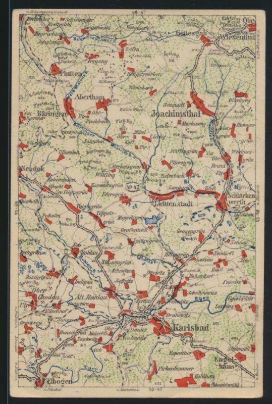 Ansichtskarte Tschechien Landkarte Kartographie Bärringen Abertham Böhmen Wona
