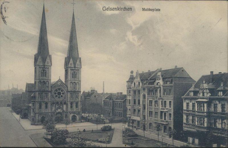 Ansichtskarte Gelsenkirchen Moltkeplatz ab Buer 5.7.1912 n. Haßlinghausen
