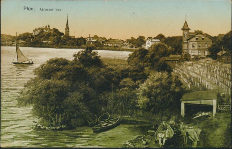 Ansichtskarte Plön Schleswig Grosser See Verlag K. Ehmke n. Hamburg Wandsbek