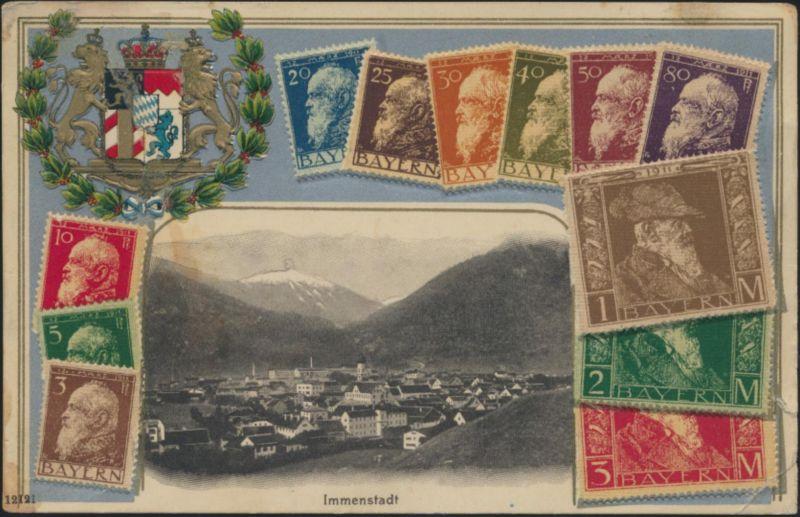 Ansichtskarte Immenstadt mit Briefmarken Bayern und Präge Wappen n. Rottweil
