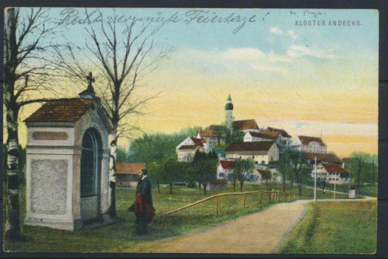 Ansichtskarte Bayern Kloster Andechs ab Erling nach Etterzhausen bei Regensburg