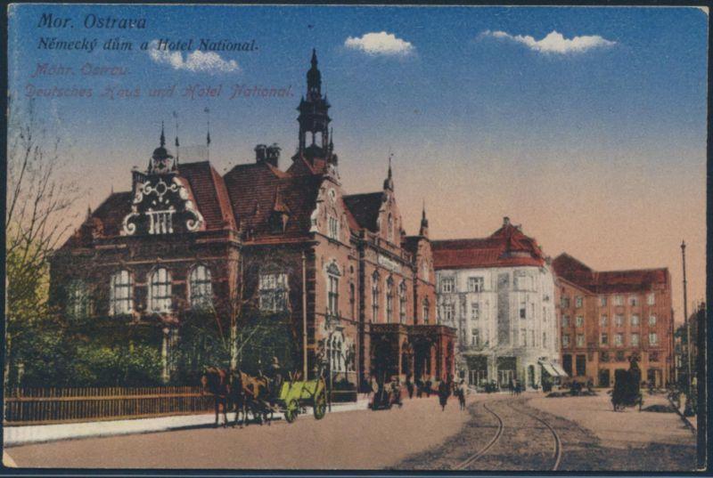 Ansichtskarte Mährisch Ostrau Pferdefuhrwerk Ostrava Tschechien ungelaufen