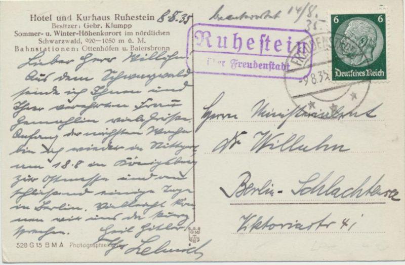 Ansichtskarte mit Landpoststempel Ruhestein über Freudenstein n. Berlin 1935