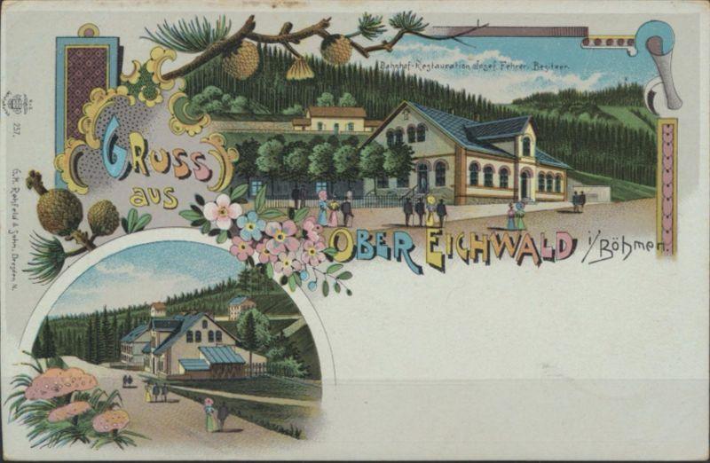 Ansichtskarte Foto Eichwald bei Teplitz Litho Bahnhof Restauration Josef Fehrer