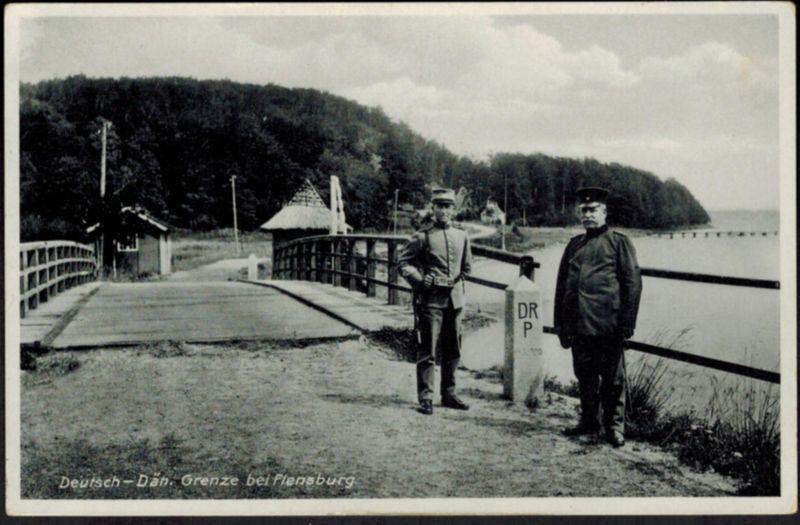 Ansichtskarte Grenze Deutschland Dänemark bei Flensburg Luftpoststempel 1934
