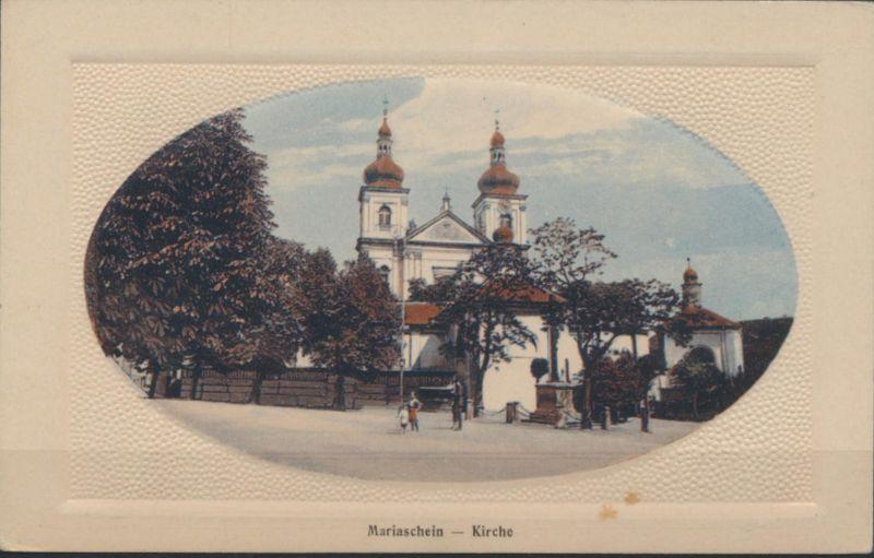 Ansichtskarte Mariaschein Kirche Verlag H. Sommer Warenhaus Bohosudov Krupka
