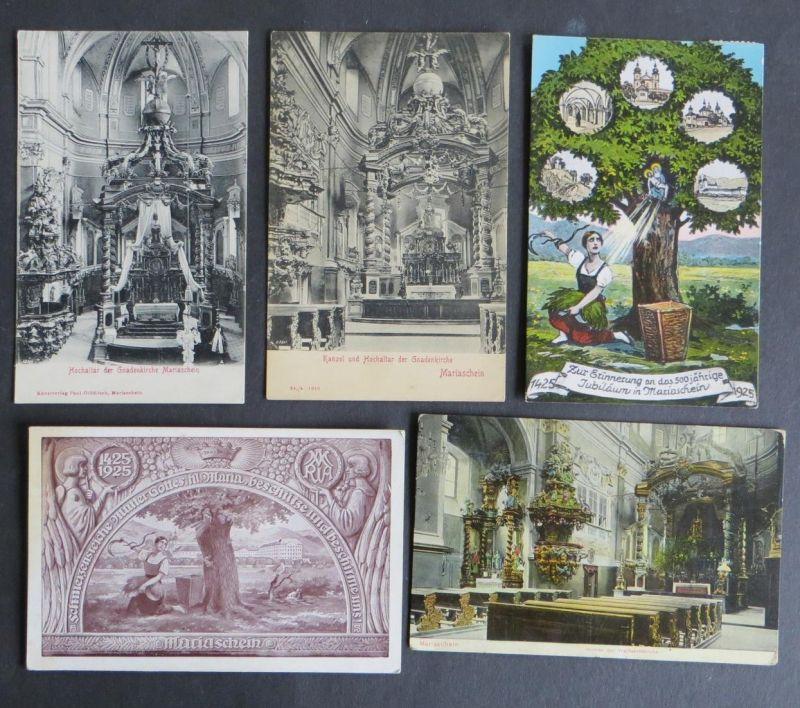 5 Stück Ansichtskarte Mariaschein Kirche Religion Bohosudov Krupka Tschechien