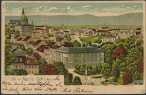 Foto Litho Ansichtskarte Teplitz-Schönau Teplice gelaufen