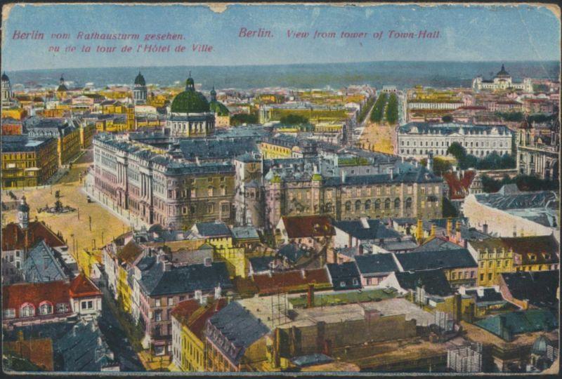 Ansichtskarte Frankreich Feldpost Künstler Panorama Berlin vom Rathausturm